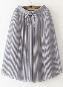 Grey Drawstring Waist Pleated Wide Leg Pant