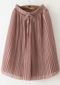 Pink Drawstring Waist Pleated Wide Leg Pant