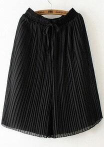 Black Drawstring Waist Pleated Wide Leg Pant