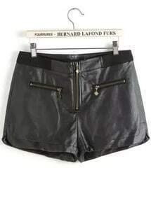 Black Zipper PU Leather Shorts