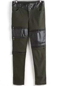 Army Green Contrast PU Leather Bead Pant