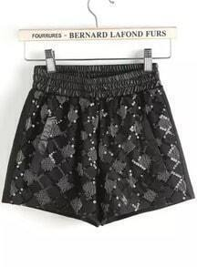 Black Elastic Waist Sequined Shorts