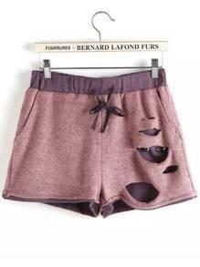 Pink Drawstring Waist Ripped Shorts