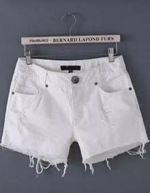 White Ripped Fringe Denim Shorts