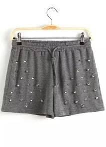 Grey Drawstring Waist Rivet Shorts