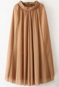 Yellow Elastic Waist Chiffon Pleated Skirt