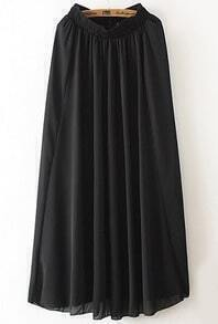 Black Elastic Waist Chiffon Pleated Skirt