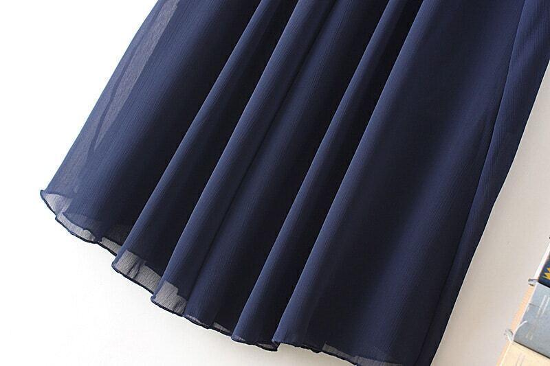 jupe pliss e mousseline taille lastique bleu marine. Black Bedroom Furniture Sets. Home Design Ideas