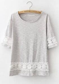 Grey Floral Crochet Striped Loose T-Shirt