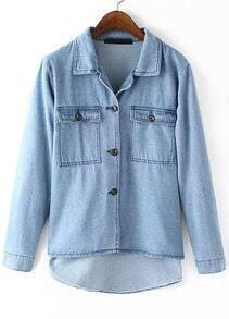 Blue Lapel Long Sleeve Dip Hem Denim Outerwear