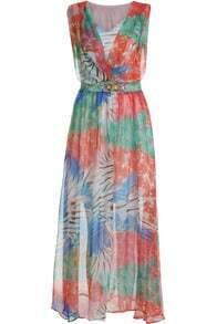 Multicolor V Neck Sleeveless Floral Bead Dress