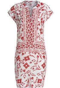 Red V Neck Short Sleeve Floral Slim Dress