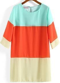 Colour-block Round Neck Loose Chiffon Dress