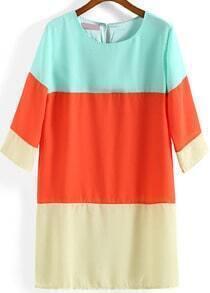 Colour-block Round Neck Loose Chiffon Dress