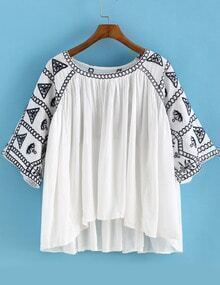 White Round Neck Embroidered Loose Blouse