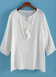 White Round Neck Embroidered Tassel Blouse