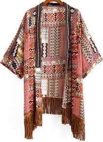 Red Tribal Print Tassel Kimono
