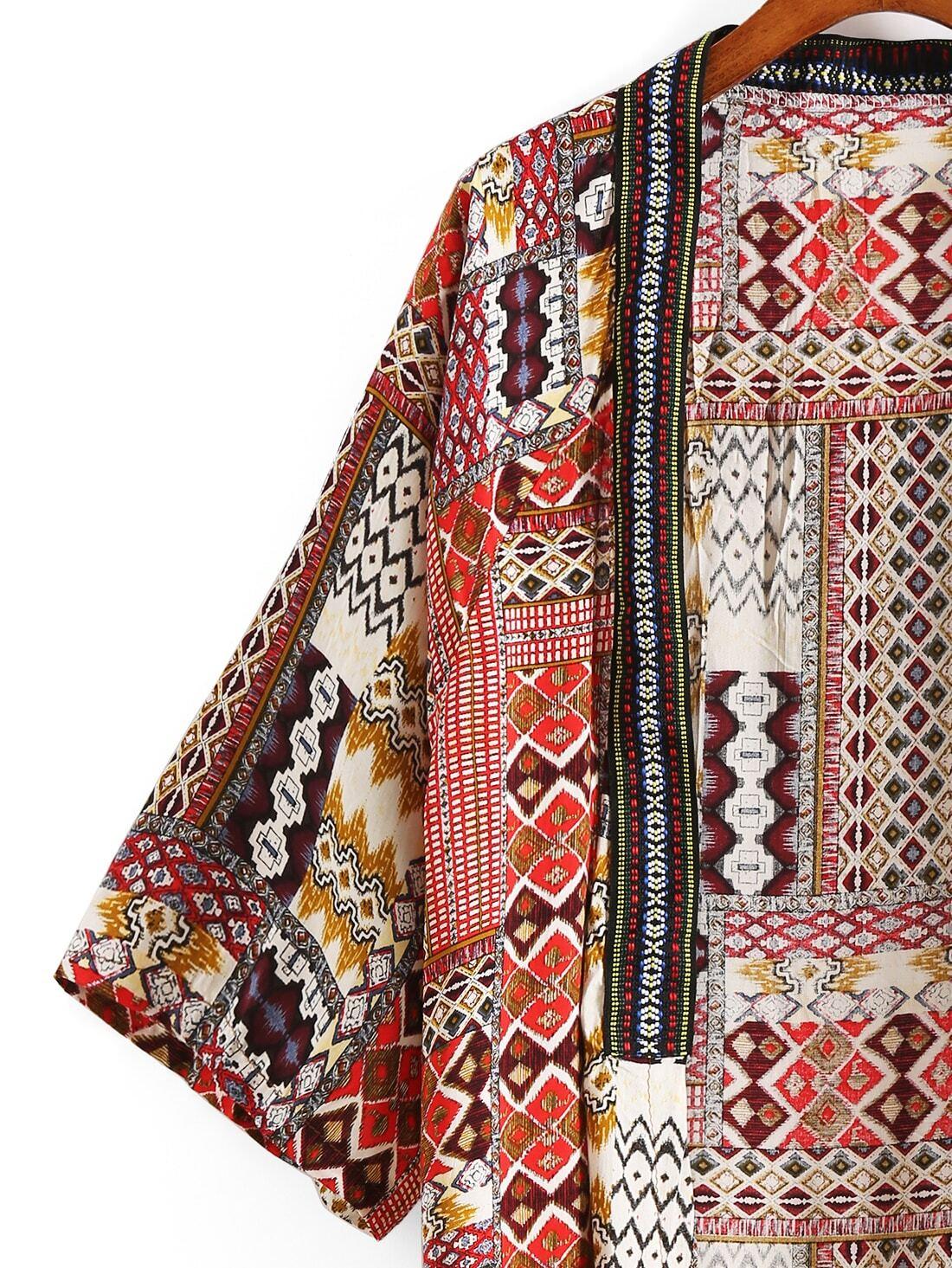 Red Tribal Print Tassel Kimono -SheIn(Sheinside)
