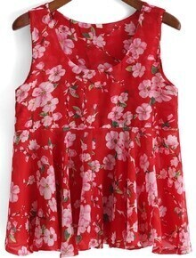 Red Round Neck Floral Chiffon Tank Top
