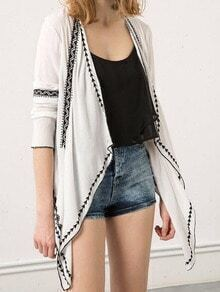 White Long Sleeve Embroidered Cardigan Outerwear