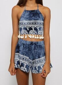 Blue Halter Backless Tassel Top With Shorts