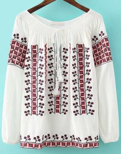 White Tie-neck Long Sleeve Floral Blouse