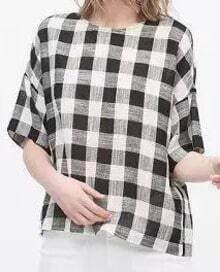 Black White Half Sleeve Plaid Buttons Blouse