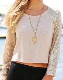 Apricot Long Sleeve Sequined Split Blouse