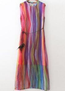 Multicolor Round Neck Dyed Sleeveless Slim Dress