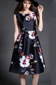 Navy Sleeveless Floral A Line Midi Dress
