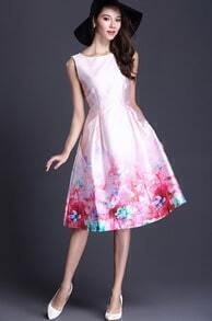Pink Sleeveless Vintage Floral Flare Dress