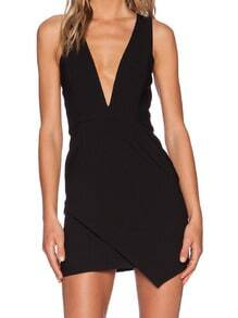 Black Lbd Sateen Deep V Neck Zipper Vest Bodycon Dress