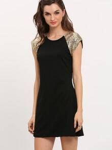 Black Contrast Short Sleeve Slim Dress