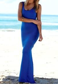 Blue Scoop Neck Sleeveless Slim Maxi Fishtail Dress