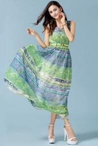 Green Sleeveless Bohemia Floral Chiffon Dress