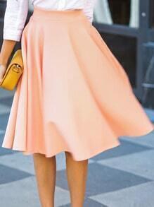 Pink High Waist Flare Skirt