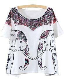 Camiseta elefante estampado -blanca
