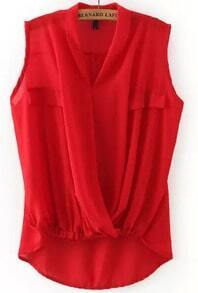 Red V Neck Cross Front Dip Hem Blouse