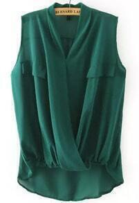 Green V Neck Cross Front Dip Hem Blouse