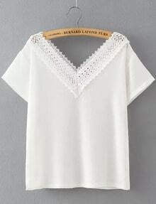 White Lace V Neck Loose Crop Blouse