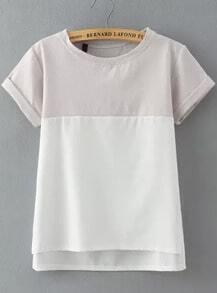 Grey White Short Sleeve Loose Blouse