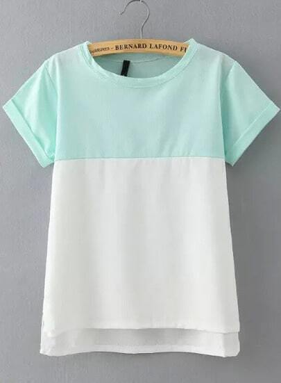Green White Short Sleeve Loose Blouse