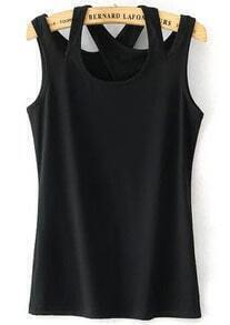 Black Cross Strap Slim Tank Top