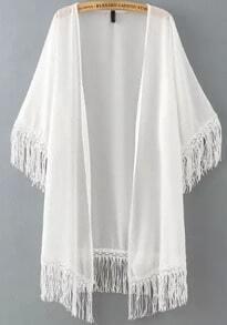 White Half Sleeve Tassel Chiffon Kimono