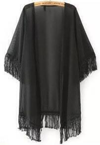 Black Half Sleeve Tassel Chiffon Kimono