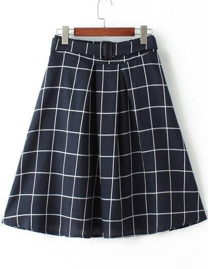 Navy High Waist Plaid Midi Skirt
