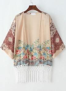 Pink Batwing Sleeve Vintage Floral Tassel Kimono