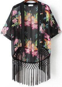 Black Batwing Sleeve Vintage Floral Tassel Kimono