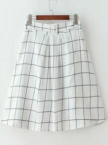 White High Waist Plaid Midi Skirt