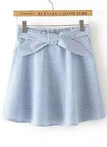Blue Vertical Stripe Bow Skirt
